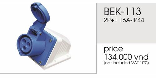 Giá ổ cắm nổi 3 chấu 16A không kín nước BEK-113