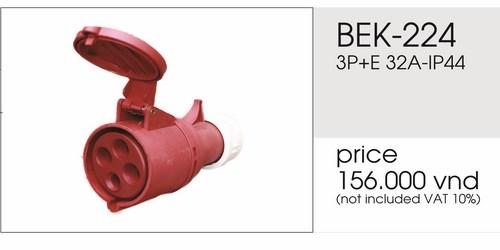 Giá phích nối 4 chấu 32A không kín nước BEK-224