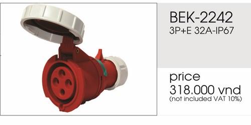 Giá phích nối 4 chấu 32A kín nước BEK-2242