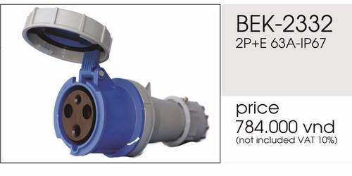 Giá phích nối 3 chấu 63A kín nước BEK-2332