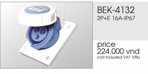 Giá ổ cắm gắn âm 3 chấu 16Akín nước BEK-4132