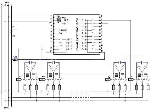 Sơ đồ đấu dây bộ điều khiển tụ bù Mikro với điện áp nguồn 3 pha 220V/380V, điện áp nuôi bộ điều khiển là 380 hoặc 415V, cuộn dây contactor 220V