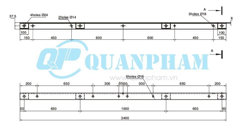 đà lệch 2.4m và thanh chống Crossarm Brace For Distribution Line 2