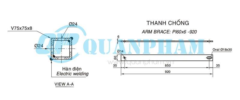 đà lệch 2.4m và thanh chống Crossarm Brace For Distribution Line 3