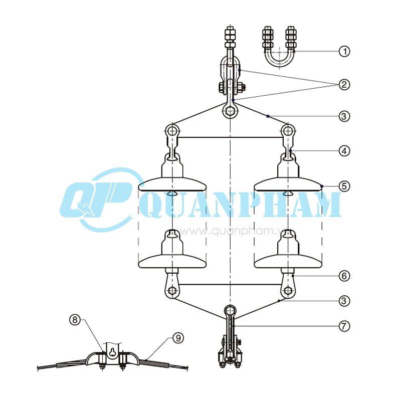 Hình 1: Chuỗi đỡ đôi cho dây ACSR, ACC- 120kN (Cách điện bằng thủy tinh) (Ảnh: quanpham)