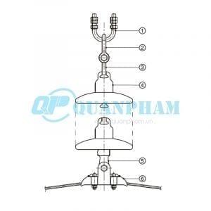 Hình 1: Chuỗi đỡ đơn cho dây ACSR, ACC - 70kN (Ảnh: quanpham)