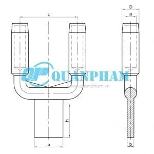 Bản vẽ kỹ thuật Cosse ép chuyển tiếp 2 dây dẫn SSY Compression 0°