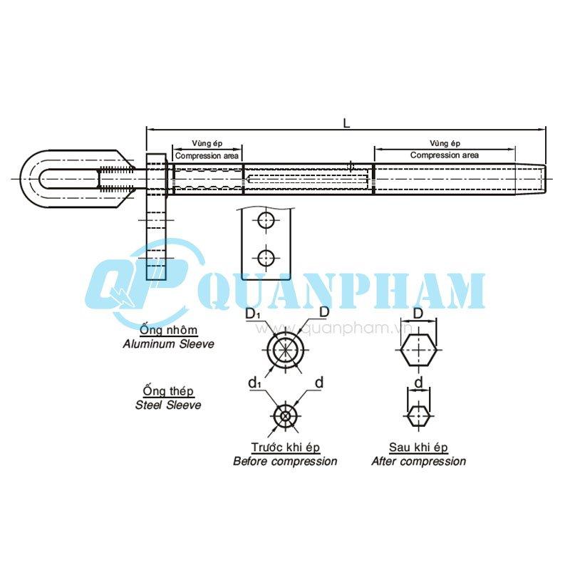 Hình 1: Khóa néo ép cho dây ACSR (LCDE) (Ảnh: quanpham)