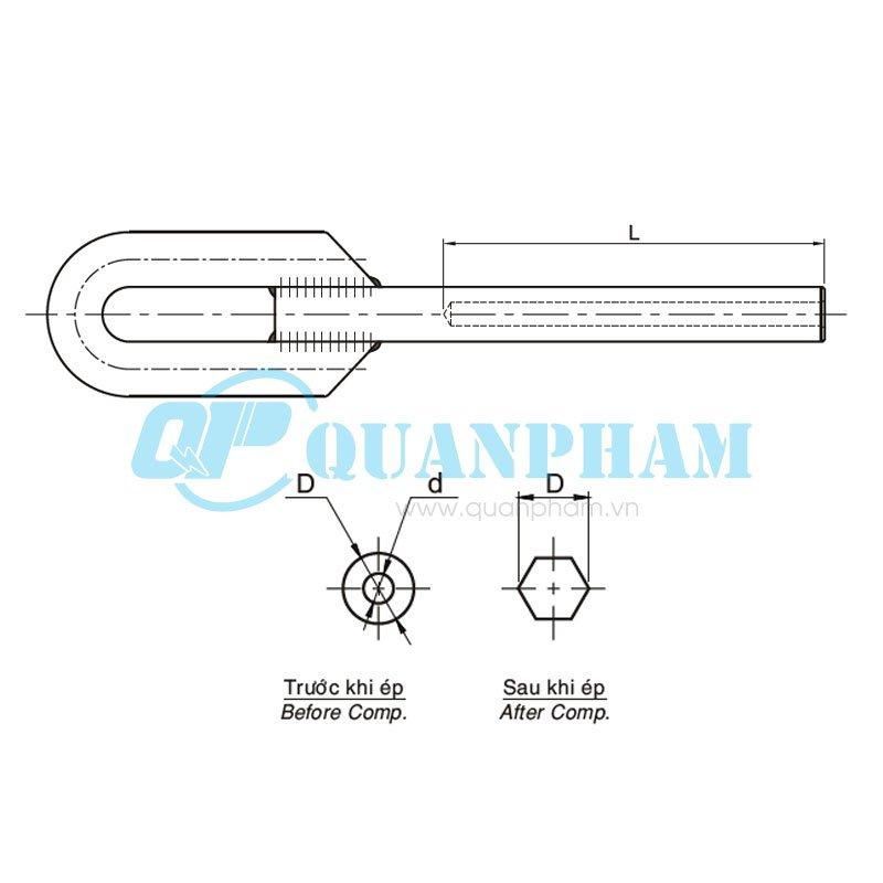 Hình 1: Khóa néo ép cho dây chống sét (NY) (Ảnh: quanpham)