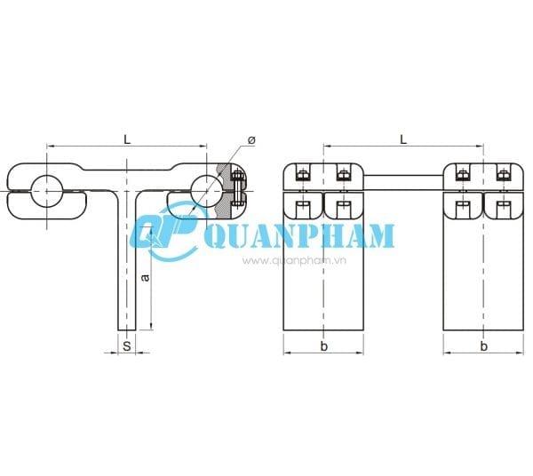 Kẹp rẽ nhánh 2 dây dẫn (Bulông) Type TSL Bolted